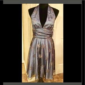 Retro pin up silver embellished gorgeous gown